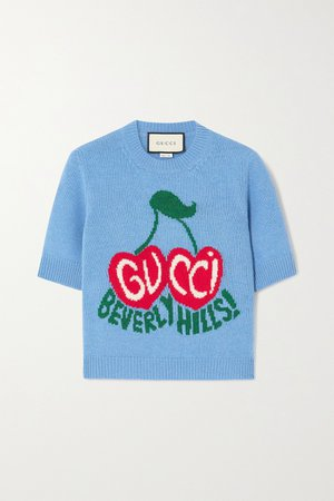 Blue Intarsia wool sweater | Gucci | NET-A-PORTER