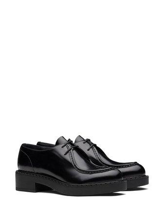 Black Prada chunky leather Derby shoes 1E247MF050055 - Farfetch