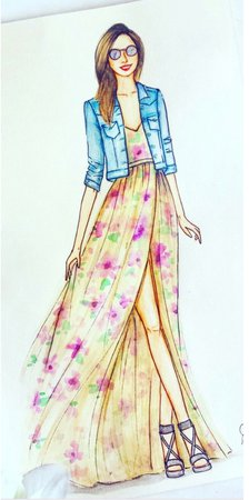long flowing dress with denim jacket