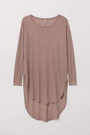 H&M+ Long Jersey Top - Brown