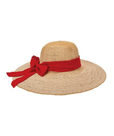 San Diego Hat Company Natural & Red Bow Sunhat