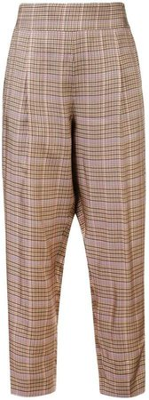 checked cropped trousers