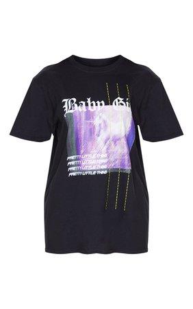 Prettylittlething Black Printed Baby Girl T Shirt | PrettyLittleThing USA