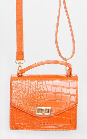 Orange Croc Pu Cross Body Bag | Accessories | PrettyLittleThing