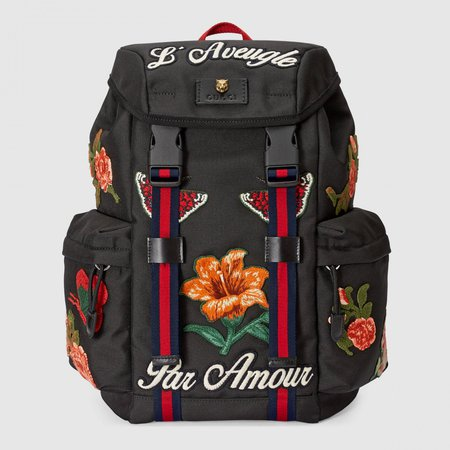 Backpacks Black – Gucci Backpack with embroidery Mens Black - Kip Thulin