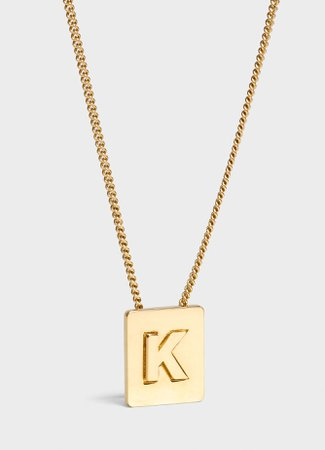 CELINE ALPHABET K NECKLACE IN BRASS WITH GOLD FINISH