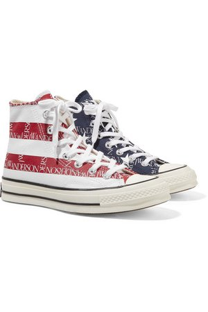 Converse | + JW Anderson Chuck Taylor All Star 70 logo-print canvas high-top sneakers | NET-A-PORTER.COM