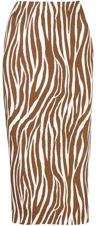 fitted zebra print silk skirt