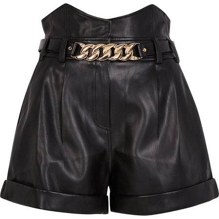 Black corset chain detail shorts | River Island