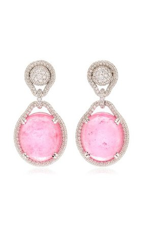 18k White Gold Tourmaline, Diamond Earrings By Goshwara   Moda Operandi
