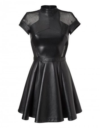 Black Leather Skater Dress