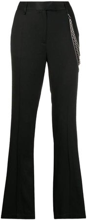chain-embellished straight trousers