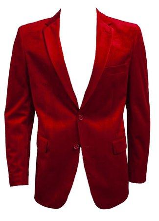 men's red velvet blazer