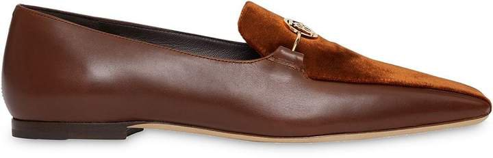 Monogram Motif Velvet and Leather Loafers