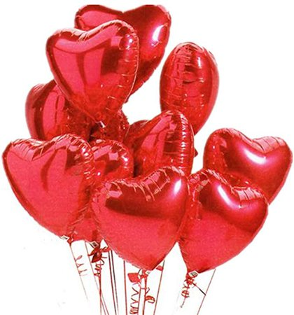 Amazon.com: Ximkee 18 Inch Red Heart Foil Helium Balloons(10 PK) Valentines Day Wedding Engagement Decorations: Toys & Games