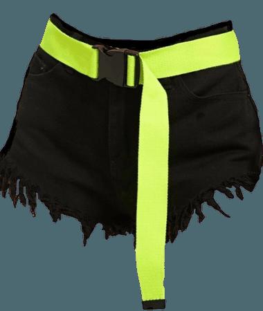 Black Denim Shorts w/ Neon Lime Belt