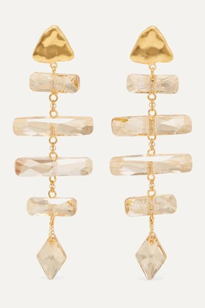 Gold Gold-plated Swarovski crystal earrings | Chan Luu | NET-A-PORTER