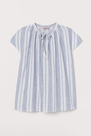 H&M+ Tie-collar Cotton Blouse - Blue