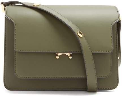 Trunk Medium Leather Shoulder Bag - Womens - Dark Green