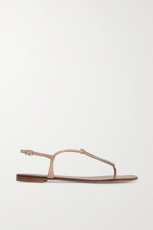 Crystal-embellished Leather Sandals - Neutral