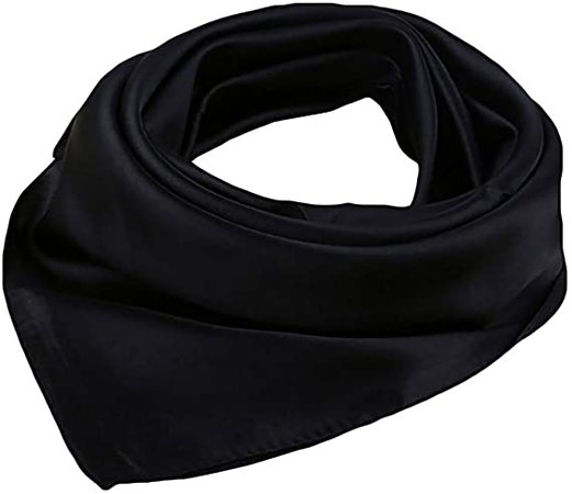 """BOWKITE Women Satin Square Scarf Wrap Silk Feel Solid Color Hair Scarf Accessory 23"""" Black at Amazon Women's Clothing store"""