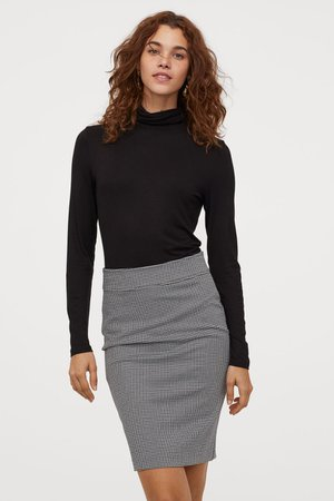 Patterned Pencil Skirt - Black/houndstooth-patterned - Ladies   H&M US