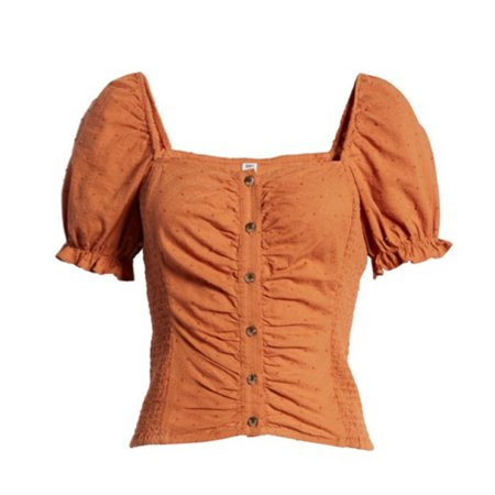 BP. - Swiss Dot Ruched Puff Sleeve Top