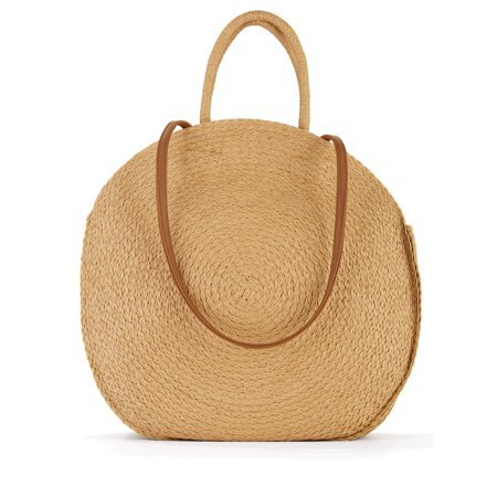 Time and Tru - Time & Tru Striped Straw Circle Tote Bag with Inner Slip Pocket - Walmart.com - Walmart.com nude