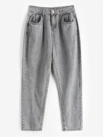 [29% OFF] [POPULAR] 2020 Tapered Mom Jeans In GRAY | ZAFUL