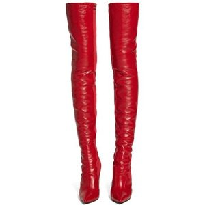 Red High Knee Boots