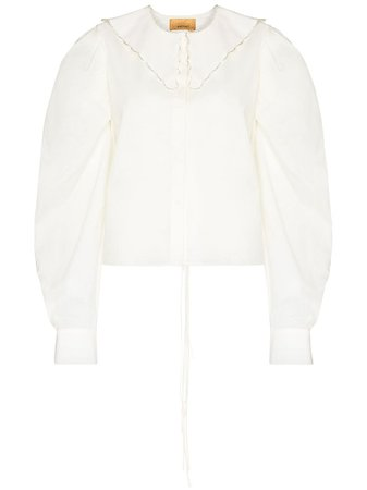 Shop white ANOUKI open-back puff-sleeve blouse with Express Delivery - Farfetch