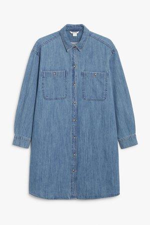 Denim shirt dress - Blue - Shirt dresses - Monki WW