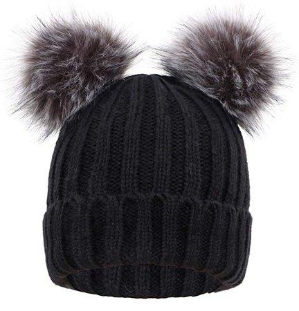 Women's Winter Chunky Knit Pompom Ski Snowboard Beanie Hat Black Hat Black Grey Ball at Amazon Women's Clothing store