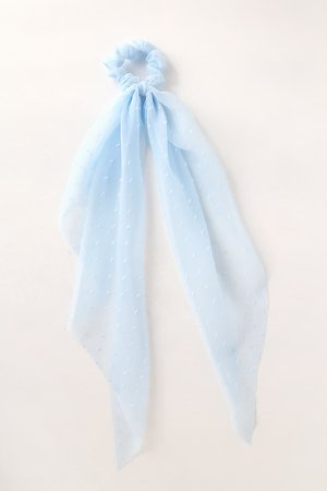 Light Blue Ponytail Holder - Scarf Ponytail Holder - Scrunchie