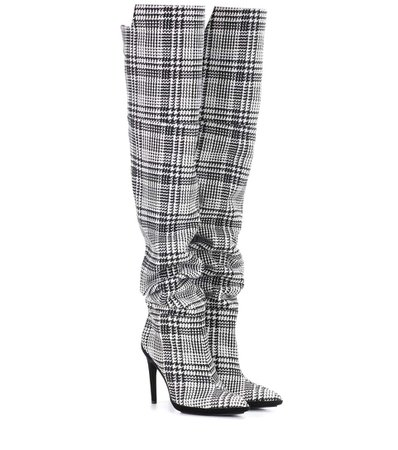 Off-White Plaid Over The Knee Boots