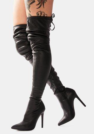 Vegan Leather Stiletto Thigh High Boots - Black   Dolls Kill