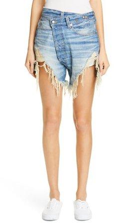 Distressed Crossover Denim Shorts