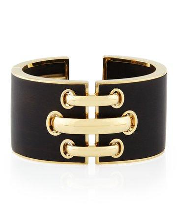 David Webb 18k Gold Ebony Shoelace Cuff Bracelet