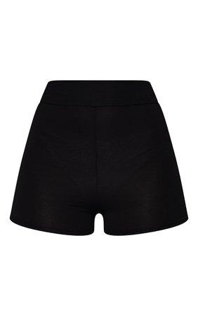 Black Basic High Waisted Shorts   Shorts   PrettyLittleThing USA