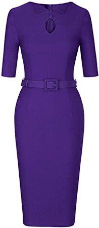 Amazon.com: MUXXN Women's Audrey Hepburn 1960s Half Sleeve Belt Formal Work Dress: Clothing