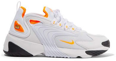 Zoom 2k Neon-trimmed Leather And Mesh Sneakers - White