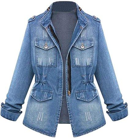 Jinjiums Womens Jacket, Long-Sleeve Distressed Zip Up Classic Trucker-Jackets Stretch Denim Jacket Plus Size (Blue, S) at Amazon Women's Coats Shop