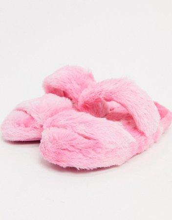 ASOS DESIGN Zhuji double strap slider slippers in pink tie dye | ASOS