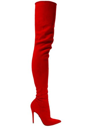 LACIA RED STRETCH SUEDE THIGH-HIGH BOOT