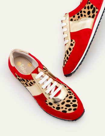 Hannah Comfort Sneakers - Red/Camel Cheetah | Boden US