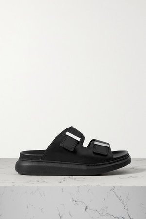 Leather Exaggerated-sole Sandals - Black