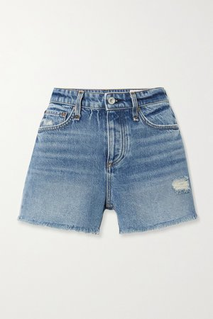 Dark denim Dre distressed denim shorts | rag & bone | NET-A-PORTER