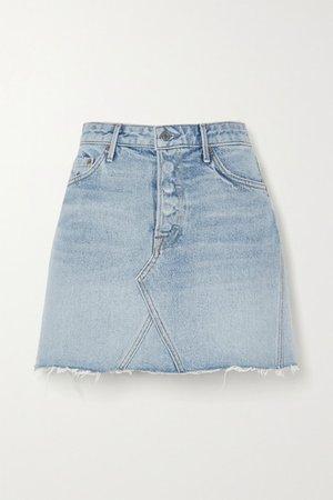 Eva Frayed Denim Mini Skirt - Mid denim