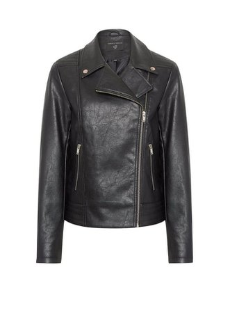 Black PU Biker Jacket leather | Dorothy Perkins