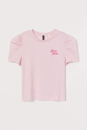 Puff-sleeved T-shirt - Pink